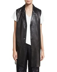 Shamask Button Front Long Leather Vest Black