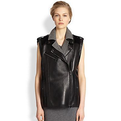 Veronica Beard Neoprene Paneled Leather Vest Black