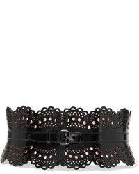 Alaia Alaa Vienne Laser Cut Glossed Leather Waist Belt Black