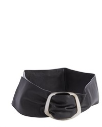 Salvatore Ferragamo Black Leather Engraved Logo Buckle Wide Waist Belt