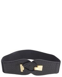 Fashion Focus Black Leather Woven Hook And Eye Waist Belt