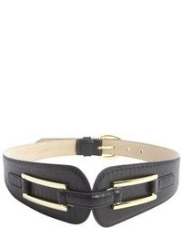Fashion Focus Black Pebbled Leather Tapered Waist Belt