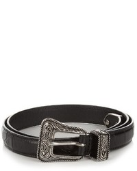 Saint Laurent Crocodile Effect Skinny Leather Waist Belt