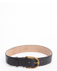 Gucci Black Pebbled Leather Bamboo Buckle Belt