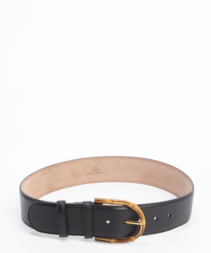 1a48e5631 Gucci Black Pebbled Leather Bamboo Buckle Belt, $515   Belle & Clive ...