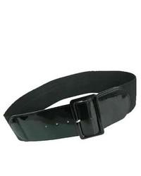 Luxury Divas Black Patent Leather 3 Wide Elastic Corset Waist Belt