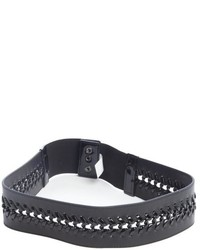 Fashion Focus White And Black Faux Leather Braided Detail Belt
