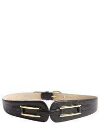 Fashion Focus Wine Pebbled Leather Tapered Waist Belt