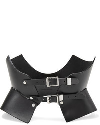 Zana Bayne Bat Cutout Studded Leather Waist Belt Black