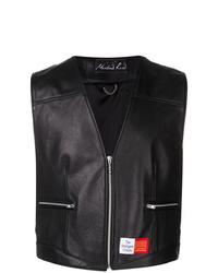 Martine Rose Black Leather Waistcoat
