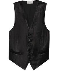 Saint Laurent Leather Buttoned Waistcoat