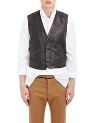 Haider Ackermann Leather Velvet Vest Black