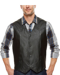 Asstd National Brand Snap Front Leather Vest