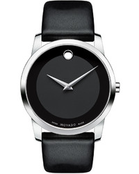 Movado 40mm Museum Classic Watch With Leather Strap Black