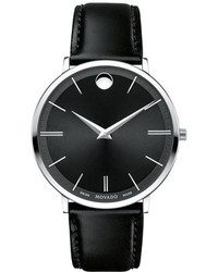 40mm stainless steel leather ultra slim watch black medium 843412