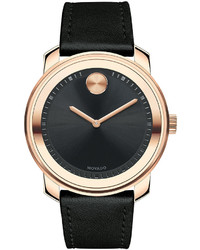 Movado 425mm Bold Watch With Leather Strap Black