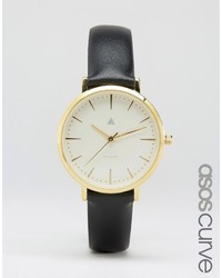Asos Curve Curve Premium Black Leather Watch