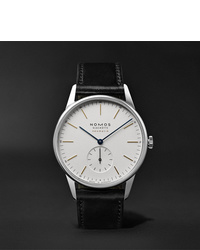 NOMOS Glashütte At Work Orion Neomatik Automatic 39mm Stainless Steel And Leather Watch Ref No 340