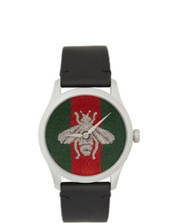 Gucci Black G Timeless Web Bee Watch