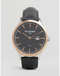 Ben Sherman Black Leather Watch With Rose Gold Detail