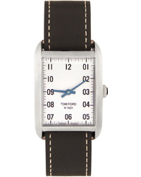 Tom Ford Black Silver Leather 001 Watch