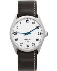 Tom Ford Black Silver Leather 002 Watch
