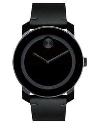Movado Bold Leather Strap Watch