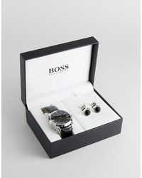 Hugo Boss Boss By Leather Watch Cufflink Gift Set
