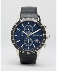 Hugo Boss Boss By Rafale Chronograph Leather Watch In Black