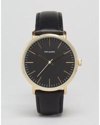 Asos Brand Watch With Leather Strap In Black