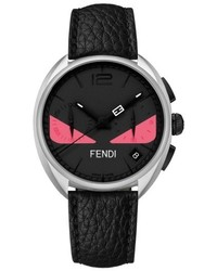 Fendi Bug Chronograph Leather Strap Watch 40mm