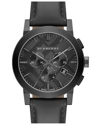 Burberry Check Stamped Chronograph Leather Strap Watch 42mm