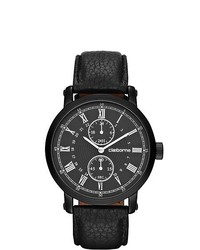 Claiborne Black Leather Chronograph Watch