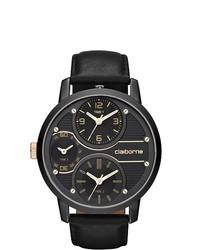 Claiborne Black Leather Strap Watch