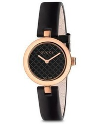 Gucci Diamantissima Rose Gold Pvd Leather Strap Watch