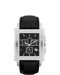 DKNY Black Leather Black Dial Quartz Watch