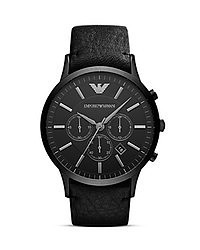 Emporio Armani Black Leather Watch 46mm