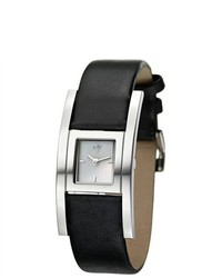 Eziba Joy Cuadrods Black Leather Watch