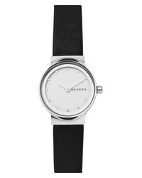Skagen Freja Crystal Accent Leather Watch