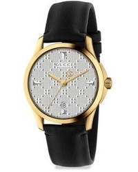 Gucci G Timeless Goldtone Pvd Leather Strap Watch