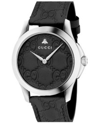 Gucci G Timeless Leather Strap Watch 38mm