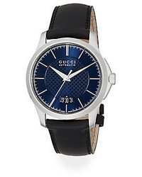 Gucci G Timeless Stainless Steel Leather Band Watch