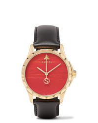 Gucci Gold Pvd Coated And Leather Watch
