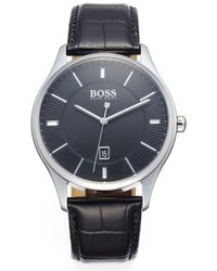 BOSS Governor Croc Emed Leather Strap Watch 44mm