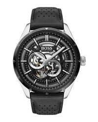 BOSS Grand Prix Automatic Leather Watch