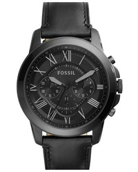 Fossil Grant Chronograph Leather Strap Watch 45mm