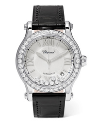 Chopard Happy Sport 36mm Stainless Alligator And Diamond Watch