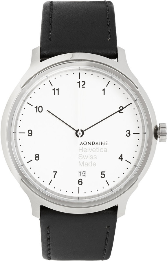 $435, Mondaine Helvetica No1 Stainless Steel And Leather Watch