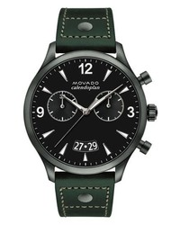 Movado Heritage Calendoplan Chronograph Leather Strap Watch