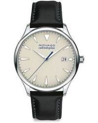 Movado Heritage Calendoplan Stainless Steel Leather Strap Watch